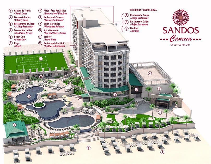 Sandos Cancun Luxury Hotel Map Of Grounds 2021