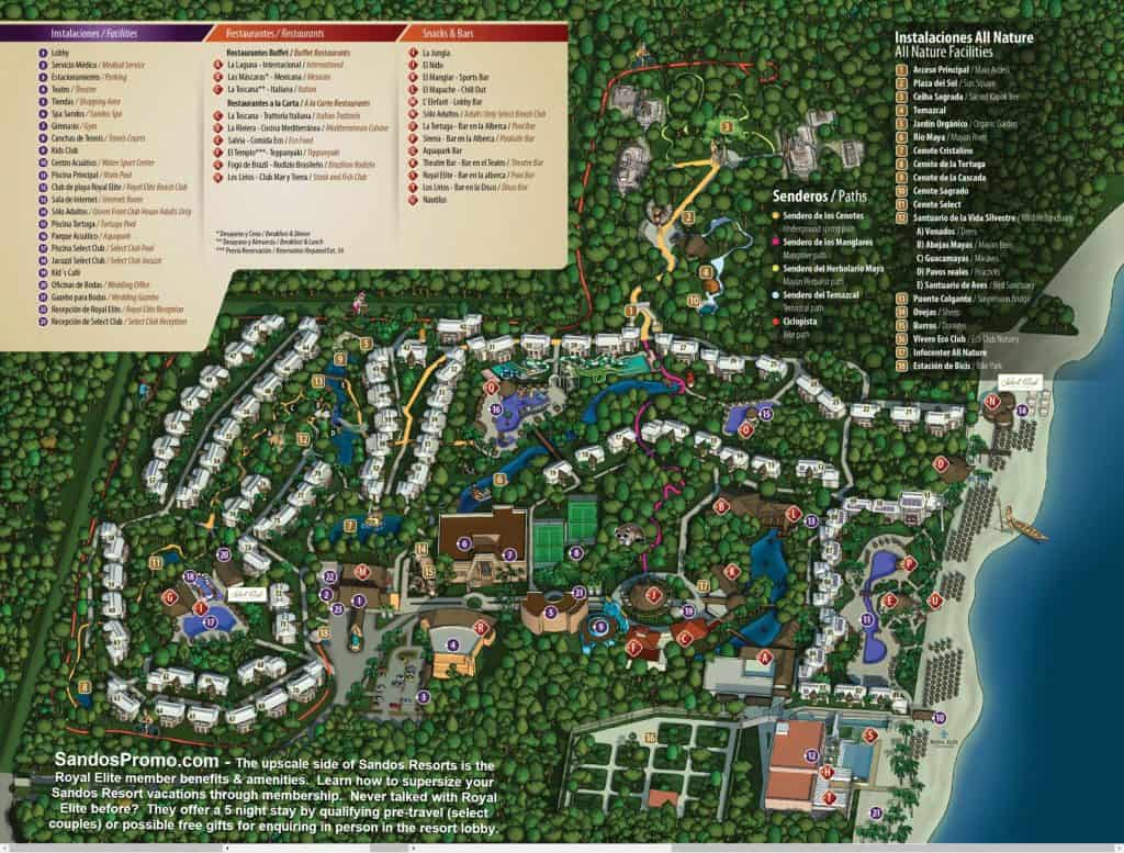 sandos caracol eco resort map of grounds